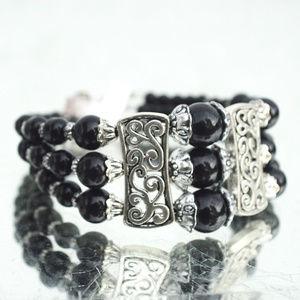Black Beaded Silver Bracelet Wide Filigree Boho